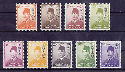 RIAU INDONESIA 1960 Mint NH Complete Overprint Set of 9 Stamps Michel #33-41 VF