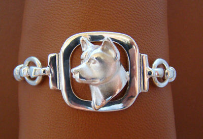 Small Sterling Silver Akita Head Study Bracelet