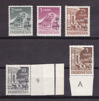 RIAU INDONESIA 1954 Mint NH Overprint Set of 5 Stamps Michel #18-22 VF