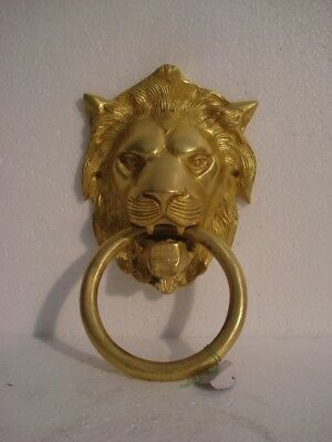 LARGE - ANTIQUE Style Brass DOOR KNOCKER - LION Style - Fully Brass - RARE(929)