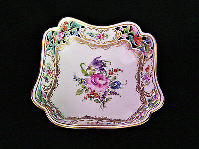 Dresden Flowers Reticulated Square Bowl. Hand Painted circa 1900