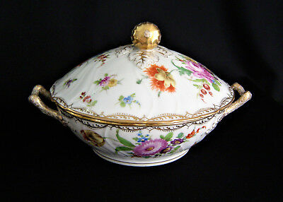 Dresden Flowers Covered Bowl Hand Painted Circa 1900