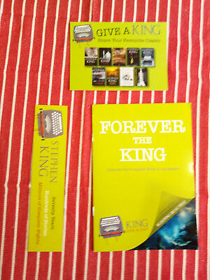 Stephen King promo postcard, booklet and book mark celebrating King's 70th