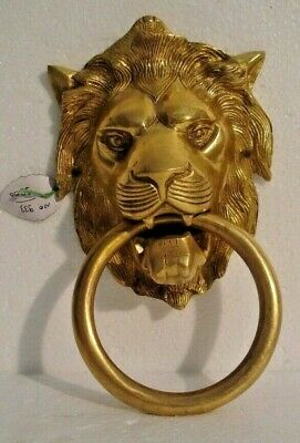 LARGE - ANTIQUE Style Brass DOOR KNOCKER - LION Style - Fully Brass - RARE(933)