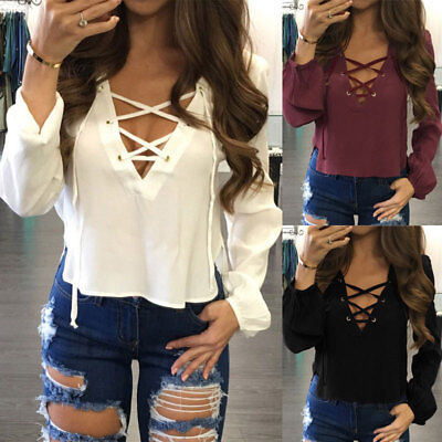 US Women Ladies Long Sleeve Loose Blouse Summer V Neck Casual Shirt Tops