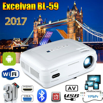 WiFi Android Bluetooth Vidéo Projecteur 3D 1080P HD Multiscreen 1+8G HDMI USB AV