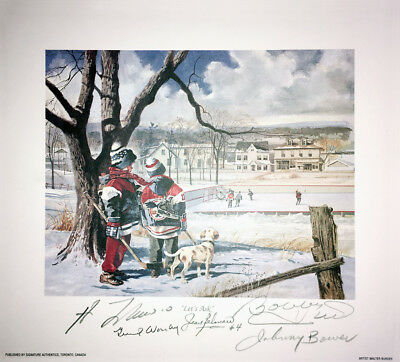 Signed Bower, Lafleur, Beliveau, Hull, Worsley Litho, Montreal, Chicago, Toronto
