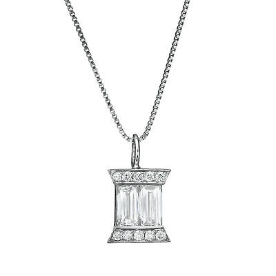 Natural Diamond Pendant Necklace 18K Solid White Gold 0.45 CT Women Anniversary