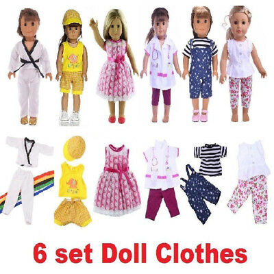 6 Sets Doll Clothes Dress for 18'' American Girl Doll Princess Costumes Gifts ♫