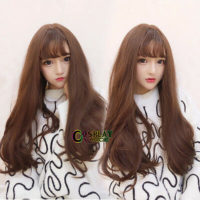 Wavy 75cm Flaxen Brown Lolita Long Cosplay Anime Heat Resistant Party Wig