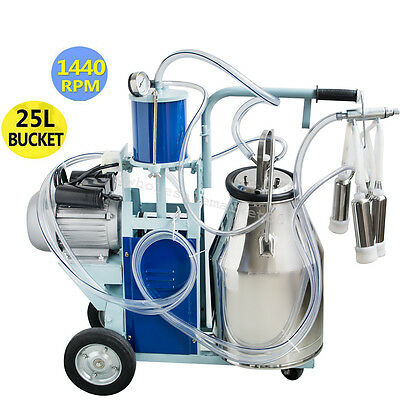 Electric Milking Machine For Farm Cow+ Bucket Vacuum Piston Pump Canada On Sell