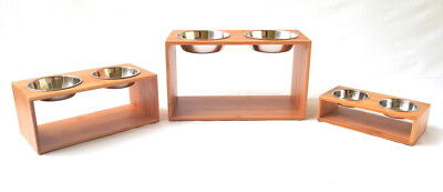 Double elevated Bamboo feeder with stainless steel bowls