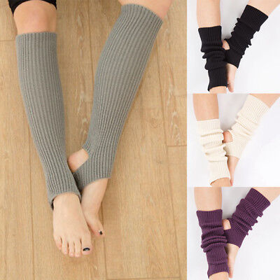 Women Soft Black Crochet Dance Pilates Yoga Leg Warmers Boot Cuffs Socks