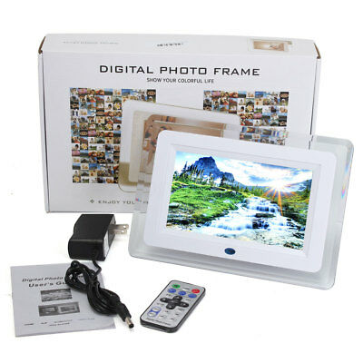 Digital Photo Frame 7'' HD TFT-LCD Picture LED Alarm Clock MP4 Player SD USB