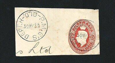 1939 KGVI 2d Red Embossed Oval Post Master General's Dept H QLD Postmark CDS