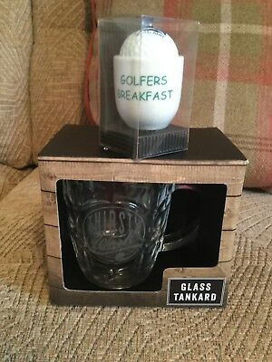 Glass Boxed Tankard With Writing On It Saying 'Thirsty Work'. Also Egg Cup !!!!!