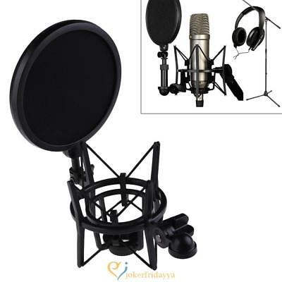 New Microphone Mic Holder Professional Shock Mount with Pop Shield Filter Screen