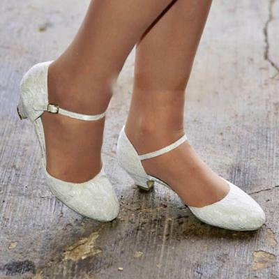 NEW Ladies Low Heel Ivory Satin & Floral Lace Wedding Bridal Court Shoes Size