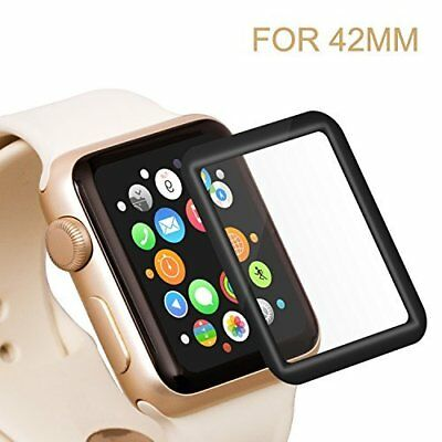Apple Watch 42mm Tempered Glass Full Coverage Screen Protector 2.5D Curved Black