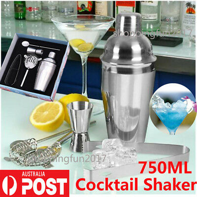 5x 750ML Stainless Steel Cocktail Martini Shaker Jigger Mixer Bar Drink Kit Sets