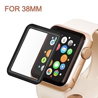 Apple Watch 38mm Tempered Glass Full Coverage Screen Protector 2.5D Curved Black