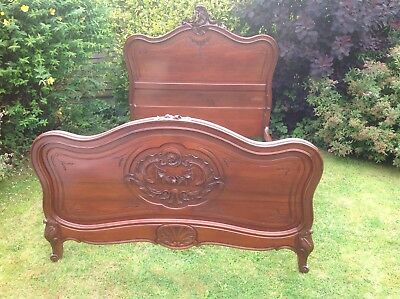 French Louis Original Solid Mahogany Antique Double Bed Frame