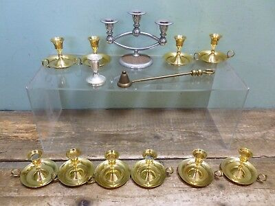 Bundle Metalware Brass Candlesticks Candelabra Centre Piece Candles Snuffer #1
