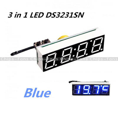 Blue 3 in 1 LED Digital Clock Temperature Voltage Module DS3231SN DIY Voltmeter