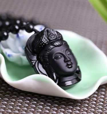 atural black obsidian hand carved guanyin head lucky pendant**