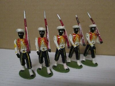 5 X Marching French Colonial Figures