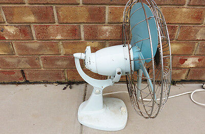 Vintage Retro Light Blue Large Metal Mistral Heavy Fan (Pick Up)