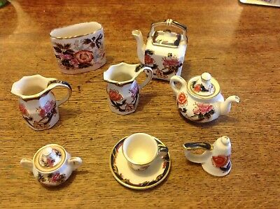 Dolls House Miniature Masons Mandalay Tea Set Snuffer Jug Tureen Kettle Vase etc