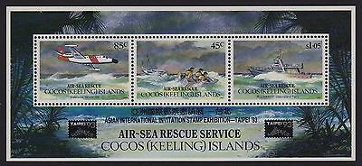 1993 Cocos Islands Air-Sea Rescue Minisheet Taipei '93 Overprint  Mint Muh