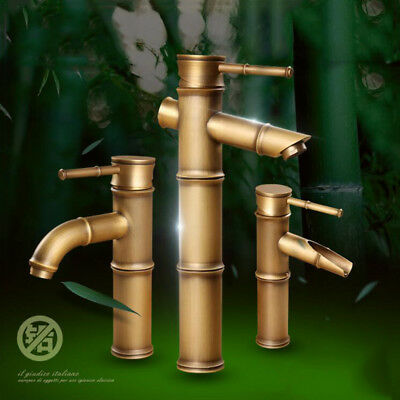 Antique Brass Bamboo Style Single Handle Bathroom Hot and Cold Water Faucet