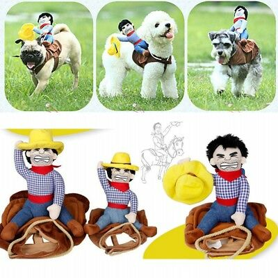 Riding Horse Cowboy Pet Dog Costumes Puppy Halloween Party Costume Clothes New