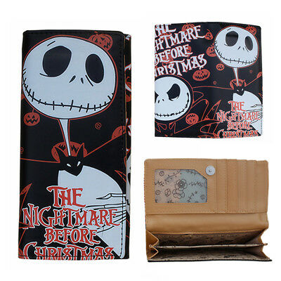 The Nightmare Before Christmas Jack Skellington Leather Long Zipper Wallet Purse