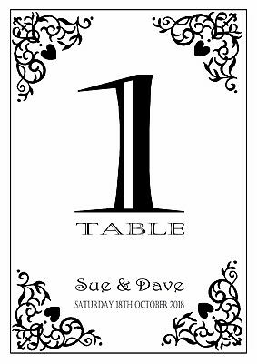 Personalised Wedding Table Numbers A5 Double Sided Top Table Multi