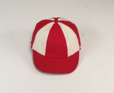 Wool Cricket Cap. English style. Red & white Panels.