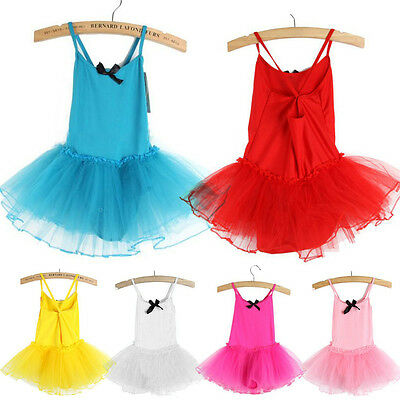 Girls Gymnastics Ballet Dress Toddler Kids Leotard Tutu Skirt Dance Costume 2-7