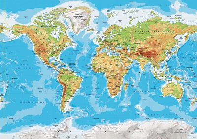 World Map Topographic Atlas Of The World  Poster