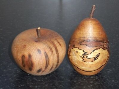 turned wooden apple i  & pear in spalted  copper beech unique gift idea