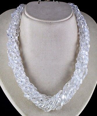 Best 10 Line 983 Cts Natural Rock Crystal Quartz Long Beads Necklace With Silver