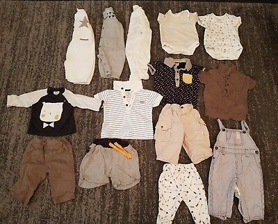 baby boys 0-3 months mama's and papas clothes bundle 14 items