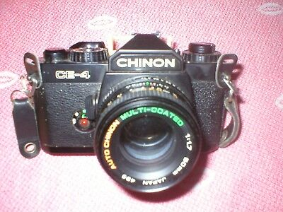 CHINON CE-4 CAMERA WITH AUTO CHINON MULTICOATED 1:1.7 50mm LENS MADE IN JAPAN 49