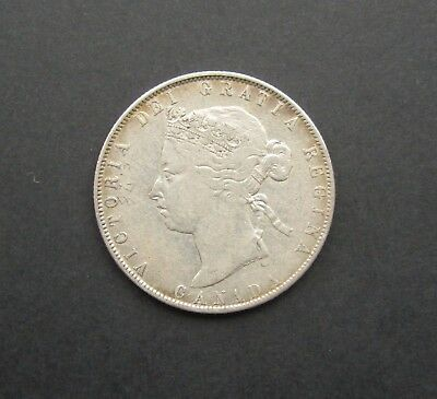 Canada Victoria 1870 Silver 50 Cents - Scarce Key Date - Gf/nvf