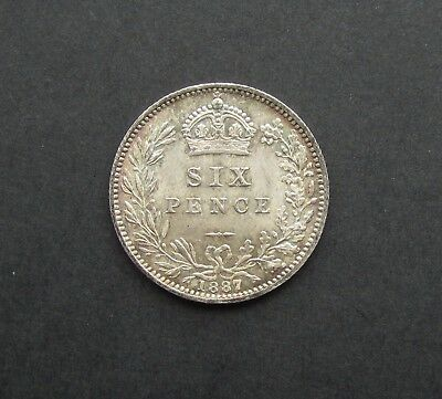 Victoria 1887 Jubilee Head Silver Sixpence - Wreath Reverse - Unc