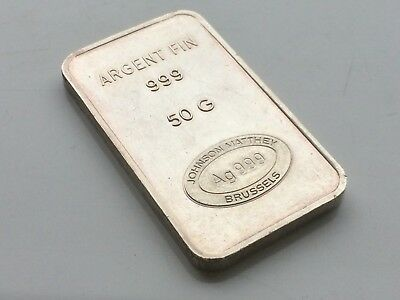 Extremely Rare Vintage Johnson Matthey Brussels 50G Silver 999 Bar