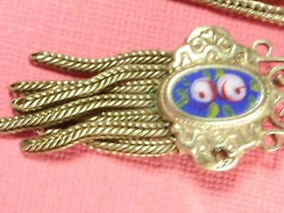 Antique Silver Enamel Floral Sliders  Albertina Watch Chain With Tassel And Ring