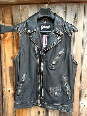 SCHOTT NYC  NEW VINTAGED Leather Jacket Sleeveless size  see measures below