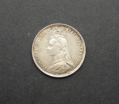 Victoria 1887 Jubilee Head Silver Threepence - Maundy Issue - Lustrous Unc